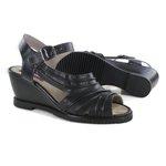 Sandália em Couro Susan Anabela Alta Preta J.Gean