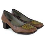 Sapato Galeany Médio em couro Amêndoa J.Gean