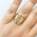 Anel de Ouro 18K Feminino Vazado Polido com Zirconias
