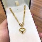 Pulseira Feminina de Ouro 18K com Pingente de Coração Grande