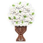 Painel Médio de Ânfora Alta com Flores Brancas