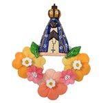 Arranjo Vazado Nossa Senhora com Flores Coloridas