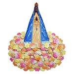 Painel Escultura Nossa Senhora com Arranjo de Flores