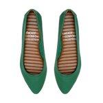 Flat Comfort Bico Fino Verde Bandeira - Salto 1,5 Cm