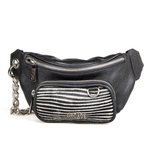Belt Bag em Couro Corrente Preta / Pelo Zebra Branco e Preto