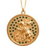 Gargantilha Folhada a Ouro São Jorge Grande Pedra Verde