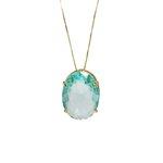 Pingente Oval Banho de Ouro 18k Cristal Azul Safira com Corrente Veneziana