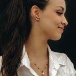 Brinco em Ouro 18k Ear Cuff com Zircônias Vermelhas