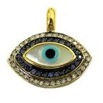 Pingente Olho Grego de Ouro 18k com Safiras e Brilhantes