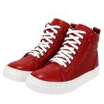 Bota Treino Academia Sneaker Vermelha em Couro Legítimo - Selten