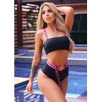 Biquíni Love Preto: top cropped + calcinha hot pant