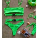 Biquíni Maçã Verde Kim: top cropped + calcinha asa delta