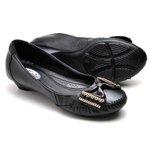 Sapato Mocassim Feminino Conforto Salto Grosso e Baixo Preto
