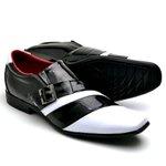 Sapato Social Masculino Top Franca Shoes Verniz Preto Branco