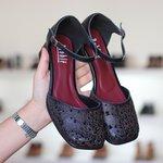 Sapato Boneca com Laser Preto