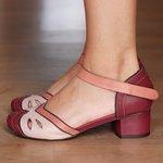 Sapato Boneca Salto Grosso Vinho e Nude