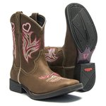 Bota Texana Feminina - Dallas Castor - Roper - Bico Quadrado - Cano Médio - Solado Freedom Flex - Vimar Boots - 13064-A-VR
