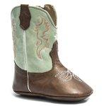 Bota Texana Baby - Firenze Café / Napa Polo Light Green - Comfort - Bico Redondo - Cano Longo - West Country - 27001-D-WC