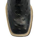 Bota Texana Masculina - Avestruz Réplica Preto / Preto - Roper - Bico Quadrado - Cano Médio - Solado VRX - PalFlex - 81159-B-PF