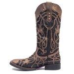 Bota Texana Feminina - Dallas Brown / Craquelê Preto - Roper - Bico Quadrado - Cano Longo - Solado Freedom Flex - Vimar Boots - 13089-C-VR