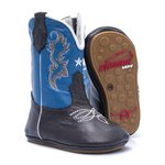 Bota Texana Baby - Fly Café / Azul Royal - Solado Bolha Natural - Bico Redondo - Cano Longo - West Country - WCB-1001-B