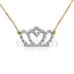 Gargantilha com Coroa em ouro 18k amarelo e branco com Diamantes
