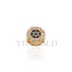 Pingente Ponto de luz em ouro 18K amarelo com Diamantes sintéticos e Safira Azul sintética