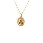 Pingente de Nossa Senhora aparecida Oval com ródio negro em ouro 18k