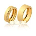Alianças de Noivado e Casamento em Ouro Amarelo 18k 0,750 FA-1041-Z