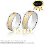 Aliança em Prata 0,950 Com Filetes Folheados