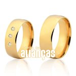 Alianças de Noivado e Casamento em Ouro Amarelo 18k FA-165-2-Z