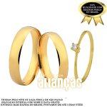 Alianças de Noivado e Casamento em Ouro Amarelo 18k 0,750 FA-162-s