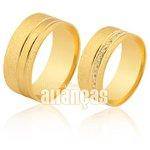 Alianças de Noivado e Casamento em Ouro 18k 0,750 FA-1108