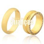 Alianças de Noivado e Casamento em Ouro 18k 0,750 FA-1120-Z