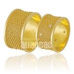 Alianças de Noivado e Casamento em Ouro Amarelo 18k 0,750 FA-824-Z