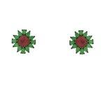 Conjunto Zirconia Lesprit LCJ01991 Rodio Negro Verde e Rubi Leitosa