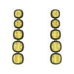 Brinco Zircônia Lesprit LB12411 Ródio Negro Yellow Fancy e Preto