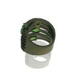 Anel Zirconia Lesprit LA04091 Ródio Negro Preto Verde Leitoso
