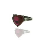 Anel Zirconia Lesprit LA02161 Ródio Negro Cristal Rubi