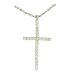 Colar Crucifixo de Zircônia Lesprit Ródio Cristal