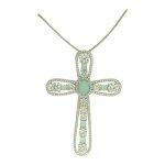 Colar Crucifixo Zircônia Lesprit PPG50591 Ródio Azul Leitosa e Cristal