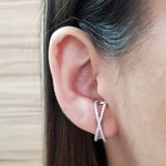 Brinco Semi Joia Ear Hook Pequeno Ródio