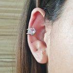 Piercing Fake Zircônia Coração Prata Rosa