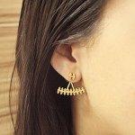 Brinco Zircônia Pequeno Ear Jacket Ciara Dourado