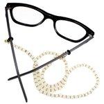 Cordão para Óculos Bolinhas Acrílico Dourado Branco