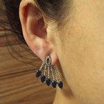 Brinco Ear Jacket Luna Grafite Azul