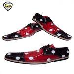 Sapato de Palhaço Preto/Vermelho com Bolas Brancas Ref 960