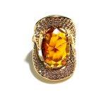 Anel Folheado a Ouro 18k com Cristal Lapidado e Zircônias