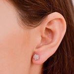 Brinco em Ouro Branco 18K Buquê Pequeno Pedras Diamante