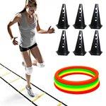 Kit Treino Agilidade - 6 Cones + Escada + Argolas de Circuito